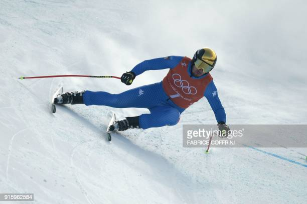 Italy's Dominik Paris takes part in the Men's Downhill 2nd training at the Jeongseon Alpine Center during the Pyeongchang 2018 Winter Olympic Games...