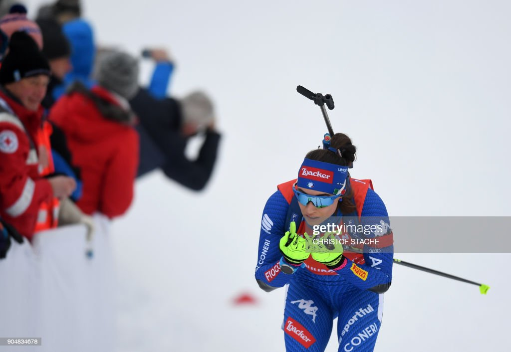Italy's Dorothea Wierer competes during the women's 12,5 kilometer mass start competition at the Biathlon World Cup on January 14, 2018 in Ruhpolding, southern Germany. /