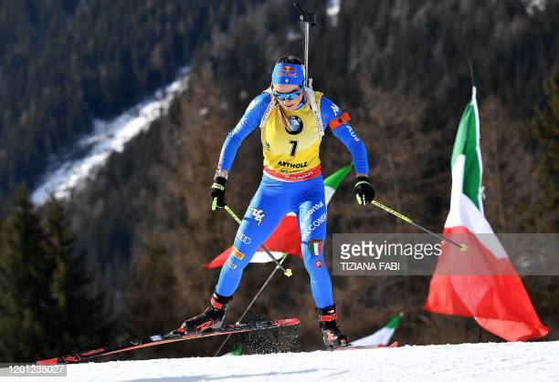 Italy's Dorothea Wierer competes in the IBU Biathlon World Cup 10 km Women's pursuit in RasenAntholz Italian Alps on February 16 2020