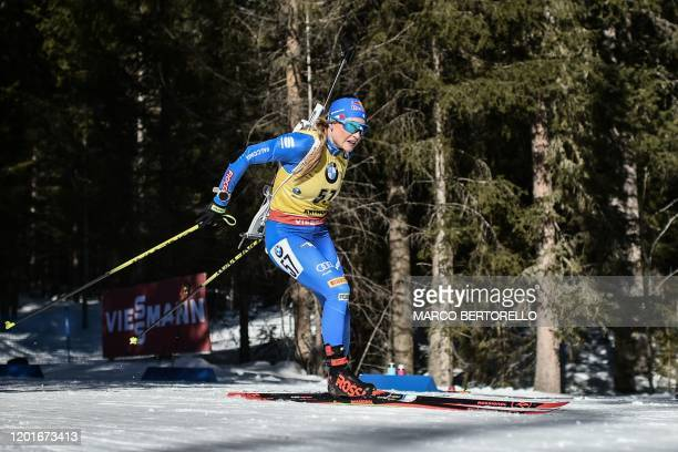 Italy's Dorothea Wierer competes in the IBU Biathlon World Cup Women's 15 km Individual Competition in Rasen-Antholz , Italian Alps, on February 18,...