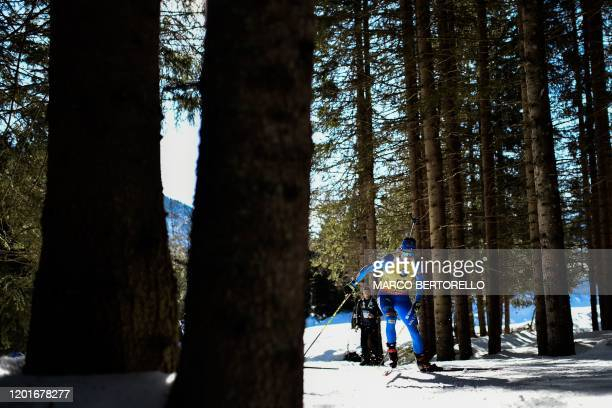 Italy's Dorothea Wierer competes in the IBU Biathlon World Cup Women's 15 km Individual Competition in RasenAntholz Italian Alps on February 18 2020