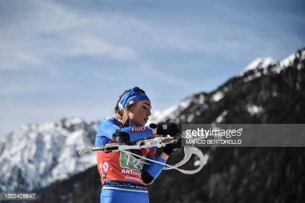 Italy's Dorothea Wierer competes in the Women 4x6 km Relay Competition at the IBU Biathlon World Cup in RasenAntholz Italian Alps on February 22 2020