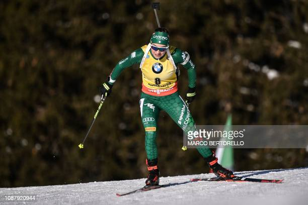 Italy's Dorothea Wierer competes in the women's 75 km sprint event of the IBU Biathlon World Cup in RasenAntholz Italian Alps on January 24 2019