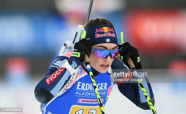 Italy's Dorothea Wierer leaves the shooting range during the women's 4x6km relay event at the Biathlon World Cup in Ruhpolding southern Germany on...