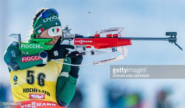 Italy's Dorothea Wierer shoots during the women's sprint of the IBU Biathlon World Cup in Hochfilzen, Austria, on December 13, 2018. / Austria OUT