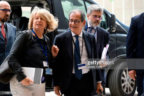 Italy's Economy and Finance Minister Giovanni Tria arrives during Eurogroup meeting at the EU headquarters in Luxembourg on June 13 2019