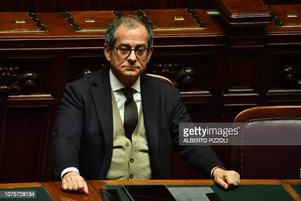 Italys Economy Minister Giovanni Tria attends a session for a Parliament vote of confidence on Italy's revised 2019 budget, on December 29, 2018 in...