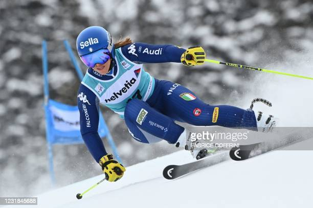 Italy's Elena Curtoni competes in the first run of the Women's Giant Slalom event during the FIS Alpine ski World Cup in Lenzerheide, on March 21,...