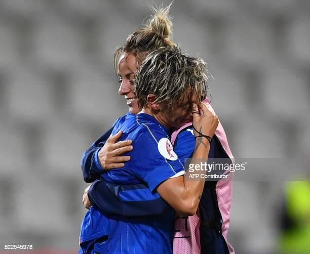 Italy's Elena Linari and Martina Rosucci celebrate after winning the UEFA Women's Euro 2017 football match between Sweden and Italy at De Vijverberg...