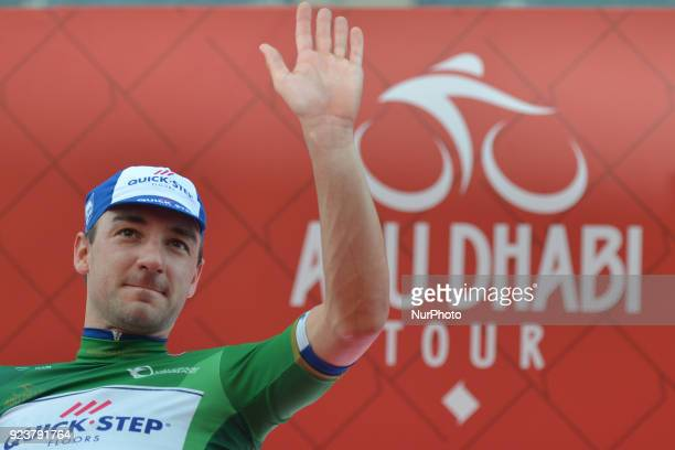 Italy's Elia Viviani from Quick Step Floors looses the Leader Red Jersey but keeps the Best Sprinter Green Jersey after he wins the fourth stage...