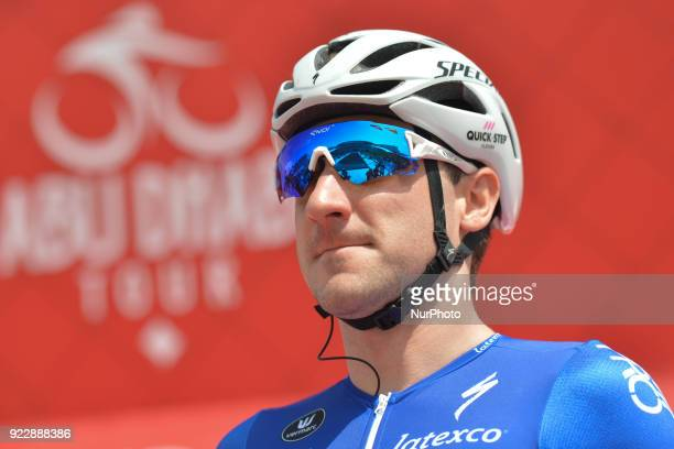 Italy's Elia Viviani from Quick Step Floors Team ahead of the start to the second stage 154km Yas Island Stage from Yas Mall to Yas Beach On Thursday...