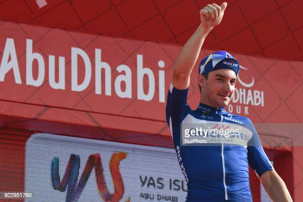 Italy's Elia Viviani from Quick Step Floors Team at the Awards Ceremony after he wins the second stage 154km Yas Island Stage from Yas Mall to Yas...