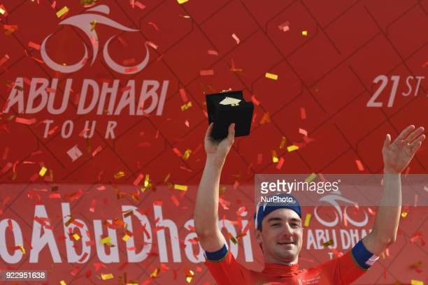 Italy's Elia Viviani from Quick Step Floors Team takes the Red Leader Jersey during the Awards Ceremony after he wins the second stage 154km Yas...