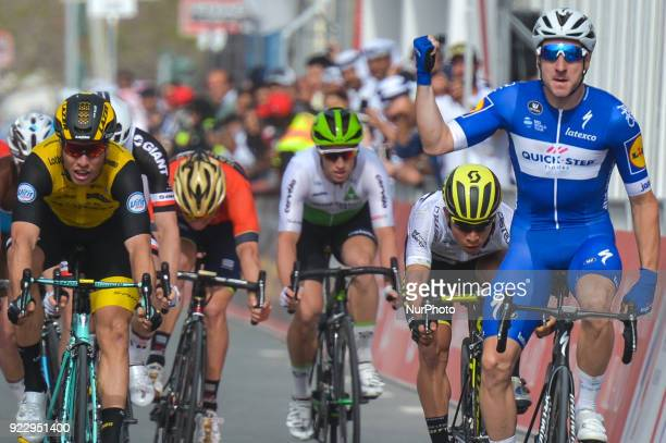 Italy's Elia Viviani from Quick Step Floors Team wins the second stage 154km Yas Island Stage from Yas Mall to Yas Beach On Thursday February 22 in...