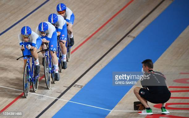 Italy's Elisa Balsamo, Letizia Paternoster, Italy's Rachele Barbieri and Italy's Vittoria Guazzini compete in the women's track cycling team pursuit...
