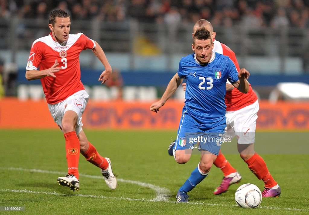 Italy's Emanuele Giaccherini (R) tries to make his way past Malta's Alexander Muscat during the FIFA 2014 World Cup qualifying football match Malta vs.Italy at the National Stadium in Malta on Marc...