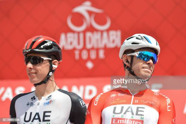 Italy's Fabio Aru and Norway's Alexander Kristoff from UAE Team Emirates ahead of the start to the second stage 154km Yas Island Stage from Yas Mall...