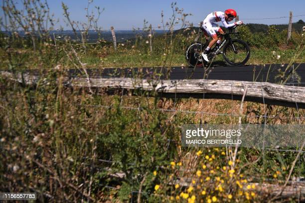 Italy's Fabio Aru rides during the thirteenth stage of the 106th edition of the Tour de France cycling race a 272kilometer individual timetrial in...