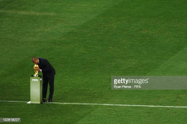 Italy's Fabio Cannavaro kisses the World Cup before the 2010 FIFA World Cup South Africa Final match between Netherlands and Spain at Soccer City...