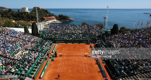 TOPSHOT Italy's Fabio Fognini and Russia's Andrey Rublev play during their tennis match on the day 3 of the MonteCarlo ATP Masters Series tournament...