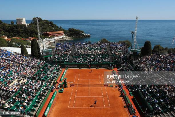 Italy's Fabio Fognini and Russia's Andrey Rublev play during their tennis match on the day 3 of the MonteCarlo ATP Masters Series tournament on April...