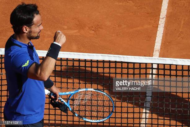 Italy's Fabio Fognini celebrates after winning his match against Russia's Andrey Rublev on the day 3 of the Monte-Carlo ATP Masters Series tournament...