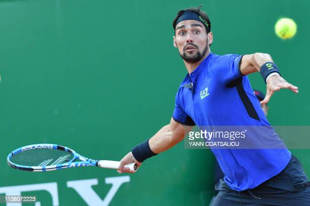 Italy's Fabio Fognini hits a return to Croatia's Borna Coric during their quarter final tennis match at the Monte-Carlo ATP Masters Series tournament...