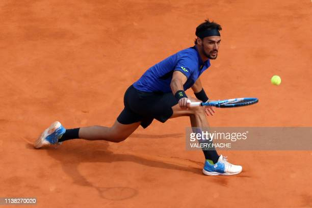 Italy's Fabio Fognini hits a return to Spain's Rafael Nadal during the semi final tennis match of the MonteCarlo ATP Masters Series tournament in...