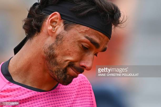 Italy's Fabio Fognini reacts during his men's singles third round tennis match against Argentina's Federico Delbonis on Day 6 of The Roland Garros...