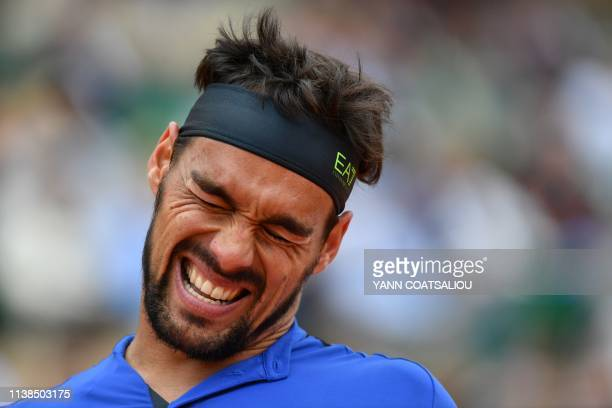 Italy's Fabio Fognini reacts during the final tennis match against Serbia's Dusan Lajovic at the Monte-Carlo ATP Masters Series tournament in Monaco...