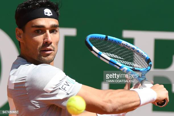 Italy's Fabio Fognini returns the ball to Belarus' Ilya Ivashka during their tennis match at the MonteCarlo ATP Masters Series tournament on April 17...