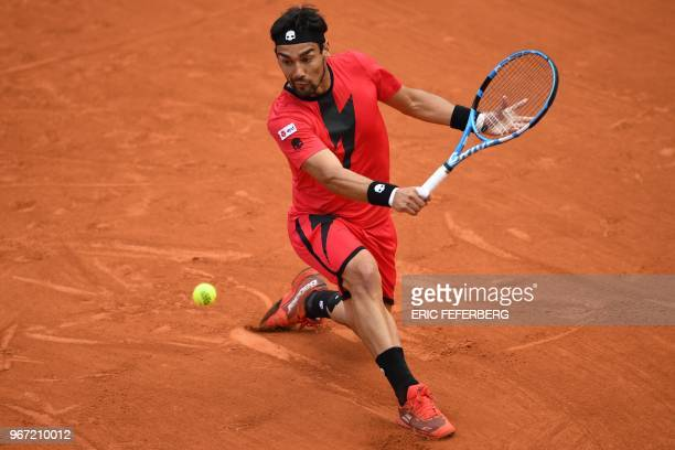 Italy's Fabio Fognini returns the ball to Croatia's Marin Cilic during their men's singles fourth round match on day nine of The Roland Garros 2018...