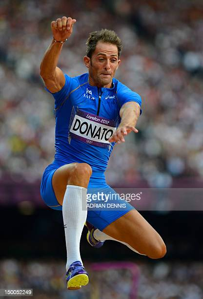 Italy's Fabrizio Donato competes in the men's triple jump final at the athletics event during the London 2012 Olympic Games on August 9, 2012 in...