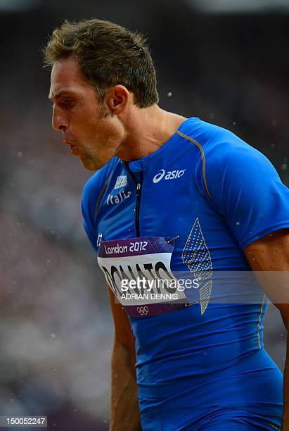 Italy's Fabrizio Donato reacts while competing in the men's triple jump final at the athletics event during the London 2012 Olympic Games on August...