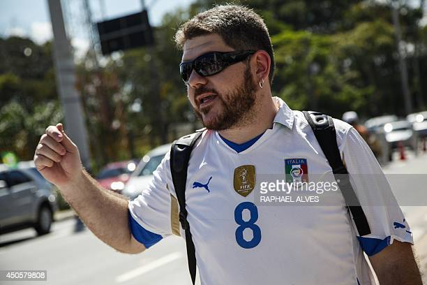 Italy's fan Ivan Mola 33 awaits for the arrival of the team on June 13 in Manaus Brazil Mola born in Puglia Italy lives in Sao Paulo Brazil since he...