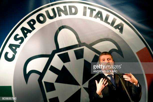 Italy's far right movement turned political party CasaPound's vice-president Simone Di Stefano holds an election campaign meeting at the Pantheon...