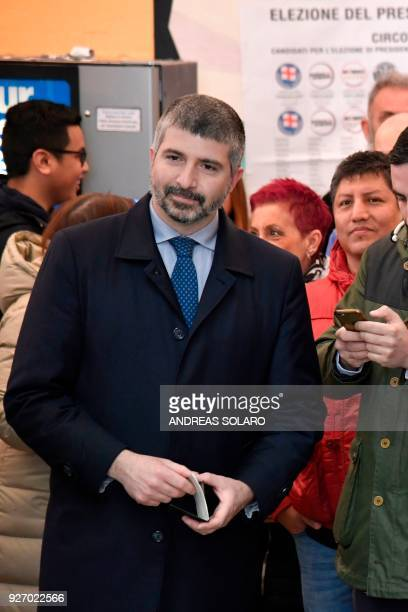 Italy's far right movement turned political party CasaPound's vice-president Simone Di Stefano arrives to vote for general elections on March 4, 2018...