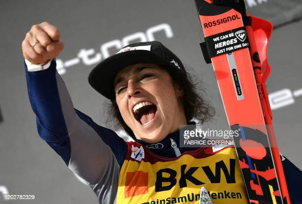 Italy's Federica Brignone celebrates during the podium ceremony after winning the women's Slalom event at the FIS Alpine Ski World Cup Combined in...