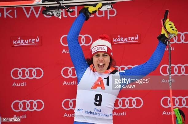 Italy's Federica Brignone celebrates her victory of the FIS Alpine World Cup Women Super G in Bad Kleinkirchheim Austria on January 13 2018 / AFP...