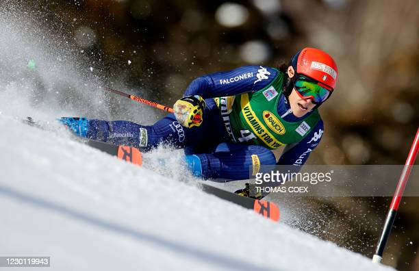 Italy's Federica Brignone competes during the first run of the women's giant slalom event during the FIS Alpine Ski World Cup in Courchevel, French...