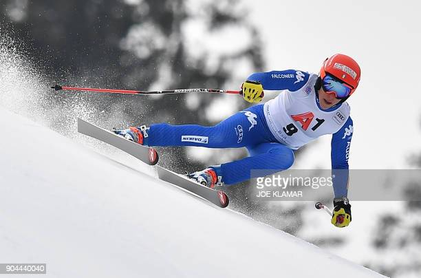 Italy's Federica Brignone competes during the FIS Alpine World Cup Women Super G event on January 13 2018 in the Austrian resort of Bad...