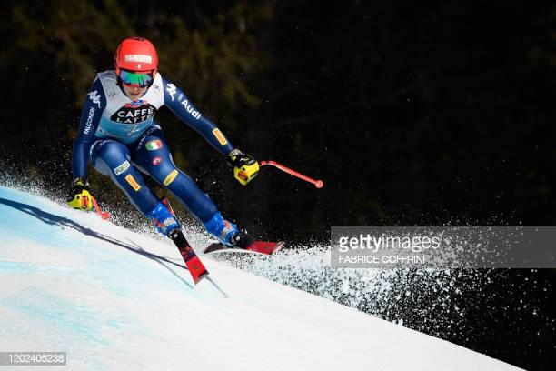 Italy's Federica Brignone competes during the women's downhill at the FIS Alpine Ski World Cup in Crans-Montana on February 22, 2020.