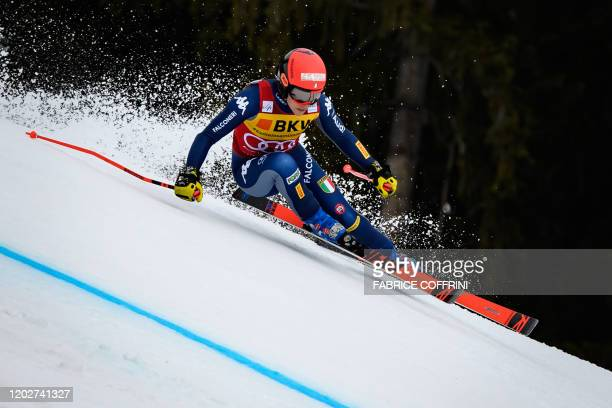 Italy's Federica Brignone competes during the women's Super-G event at the FIS Alpine Ski World Cup Combined in Crans-Montana on February 23, 2020.