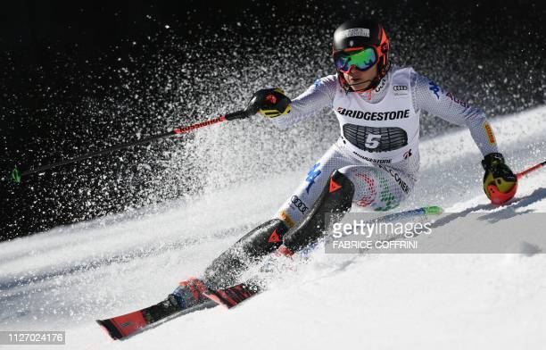 TOPSHOT Italy's Federica Brignone competes in the Slalom race of the Women's Alpine Combined competition during the FIS Alpine Ski World Cup on...