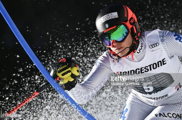 Italy's Federica Brignone competes in the Slalom race of the Women's Alpine Combined competition during the FIS Alpine Ski World Cup on February 24...