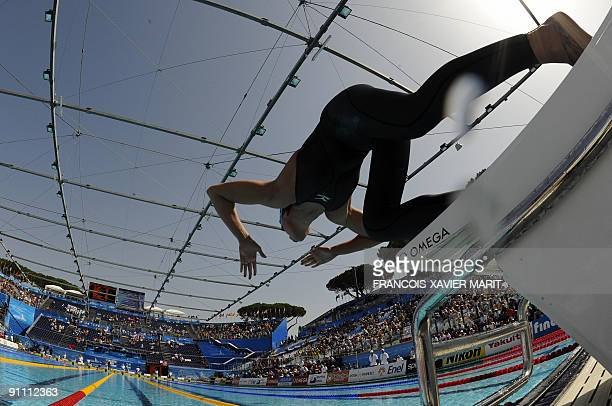 Italy's Federica Pellegrini competes during the women's 200m freestyle qualifications on July 28 2009 at the FINA World Swimming Championships in...
