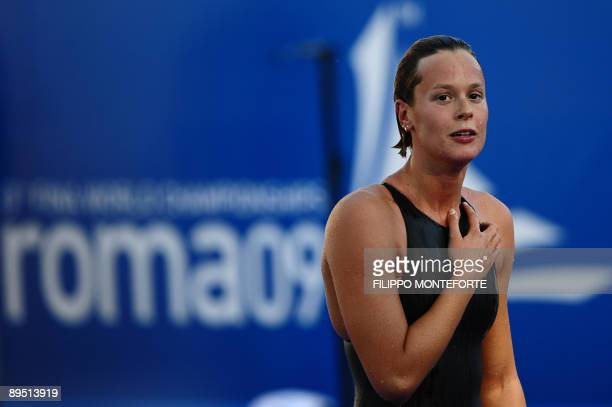 Italy's Federica Pellegrini reacts after the women's 200m freestyle final on July 29 2009 at the FINA World Swimming Championships in Rome Pellegrini...