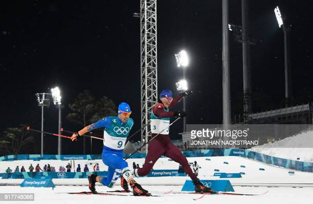 TOPSHOT Italy's Federico Pellegrino snatches silver and Russia's Alexander Bolshunov bronze as the cross the finish line in the men's crosscountry...