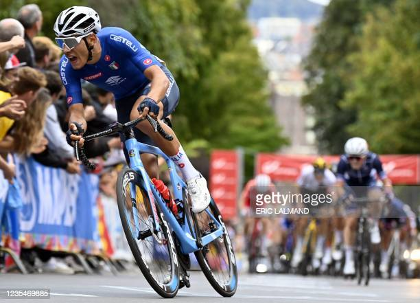 Italy's Filippo Baroncini competes in the men U23 road race on the sixth day of the UCI World Championships Road Cycling Flanders 2021, from Antwerp...