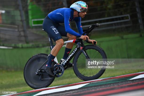 Italy's Filippo Ganna competes in the Men's Elite Individual Time Trial at the UCI 2020 Road World Championships in Imola, Emilia-Romagna, Italy, on...
